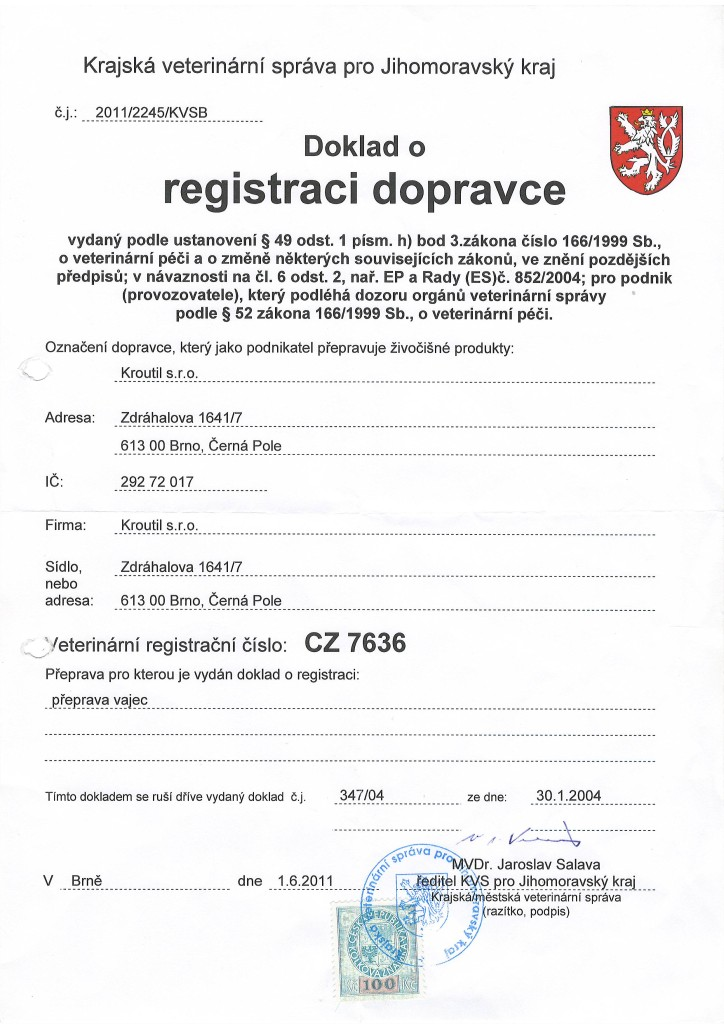Doklad o registraci dopravce