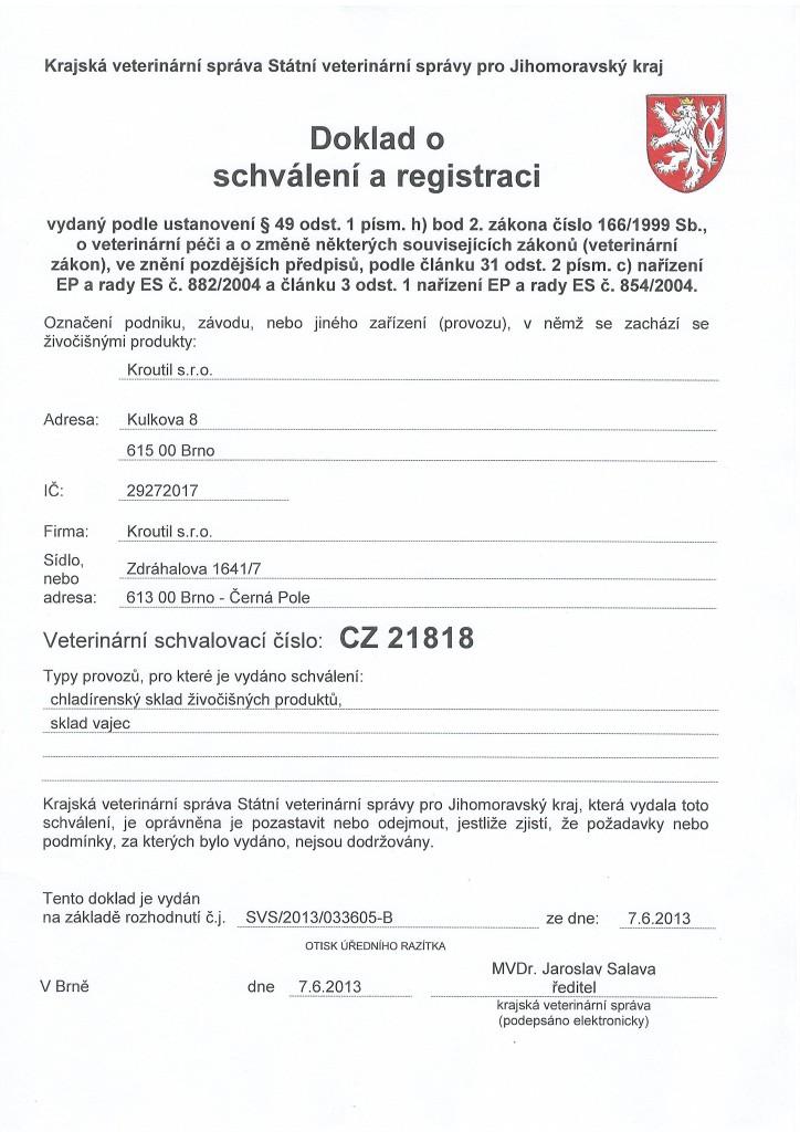 Doklad o schválení a registraci